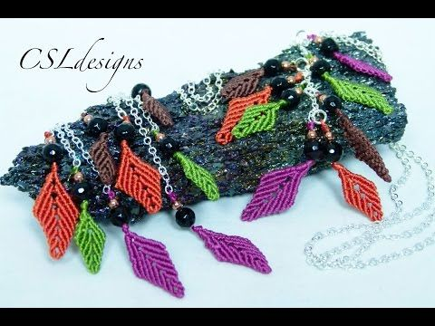 Autumn leaves macrame earrings/necklace - YouTube