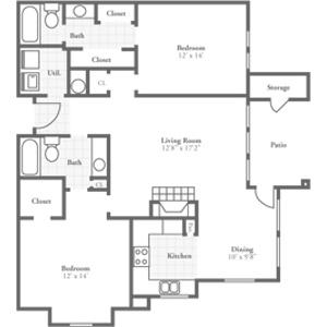 Two Bedroom Phoenix 1275 sqft