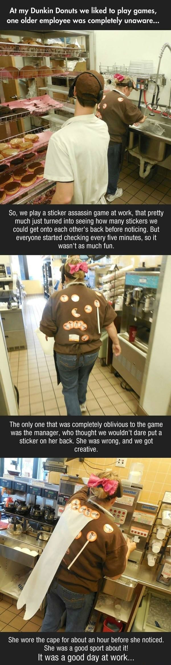 The Dunkin Donut sticker assassin game!