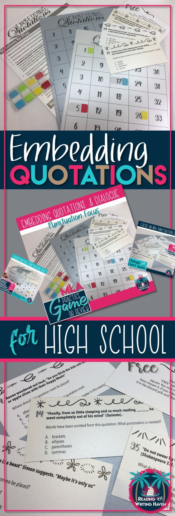 Practice or review activity for the punctuation aspects of embedding quotations and dialogue. Junior high and high school writing game to differentiate learning. #ELAgames #embeddingquotations #highschoolenglish