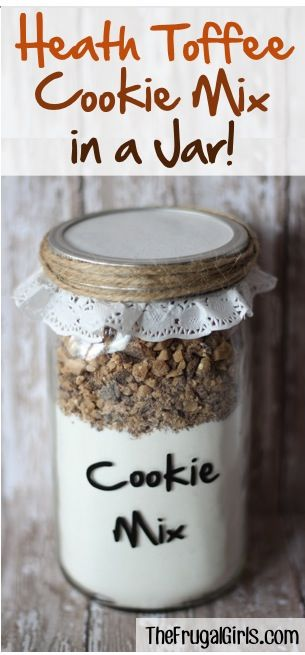 Heath Toffee Cookie Mix in a Jar! ~ at TheFrugalGirls.com ~ this cookie mix comes together in a snap, makes a great gift, and will bake the most incredible Heath Toffee Cake Mix Cookies! #masonjars #giftsinajar #cookies #cookiemix