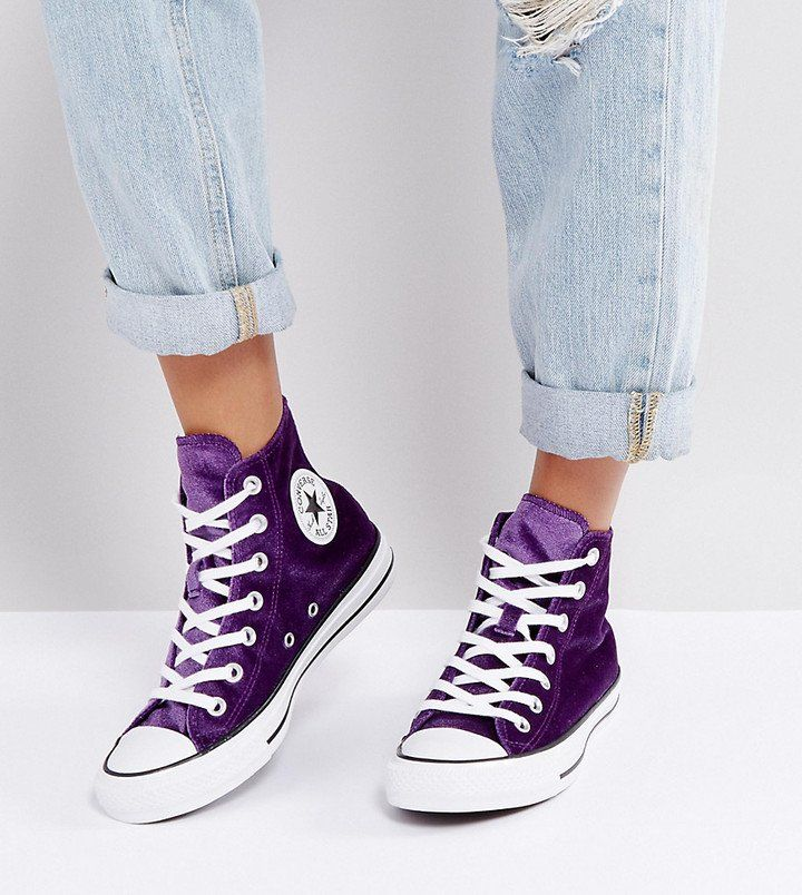 preferible rizo Acerca de la configuración  Converse Chuck Taylor High Sneakers In Purple Velvet | Purple converse high  tops, Purple converse, Pretty sneakers