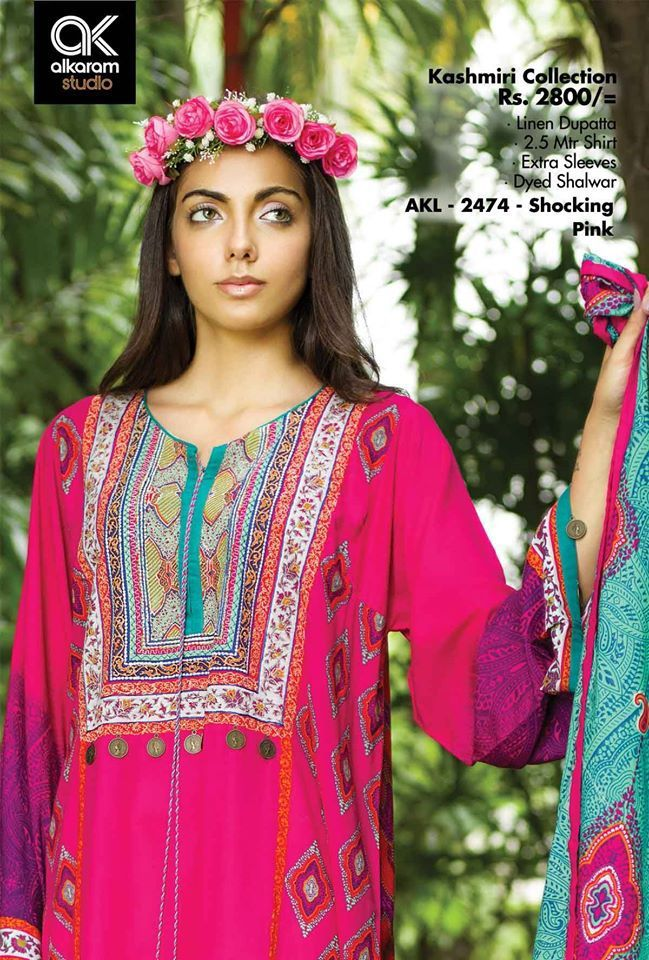 At ksabih.com - Khaddar for Winter (Thick Fabric) - Available Now - Limited Stock, AlKaram Winter Vol 1 - AKL-244 Shocking Pink, Custom Stitching on your own Sizes Buy now : http://goo.gl/tEPjrG