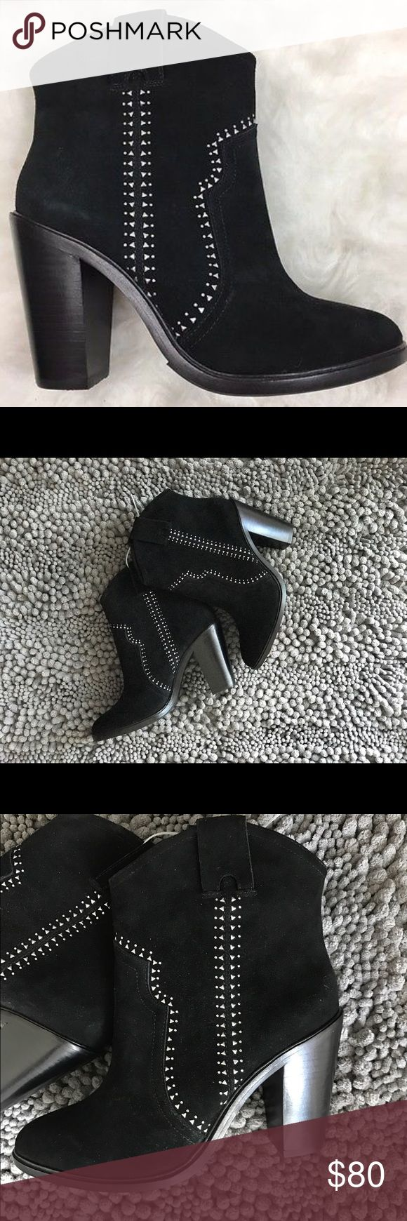 """🆕Joie - Monte Western Studded Black Suede Booties Tonal topstitching. Western-inspired silhouette. Almond toe. Lightly padded insole - 5"""" shaft height - 3.5"""" heel height Joie Shoes Ankle Boots & Booties"""