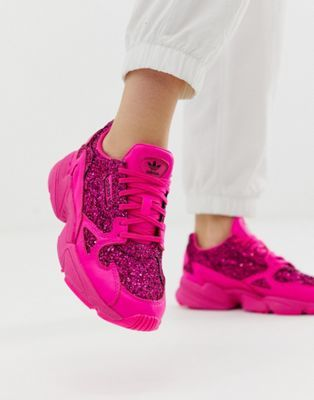 new product 0caca f1276 adidas Originals Premium pink glitter Falcon trainers