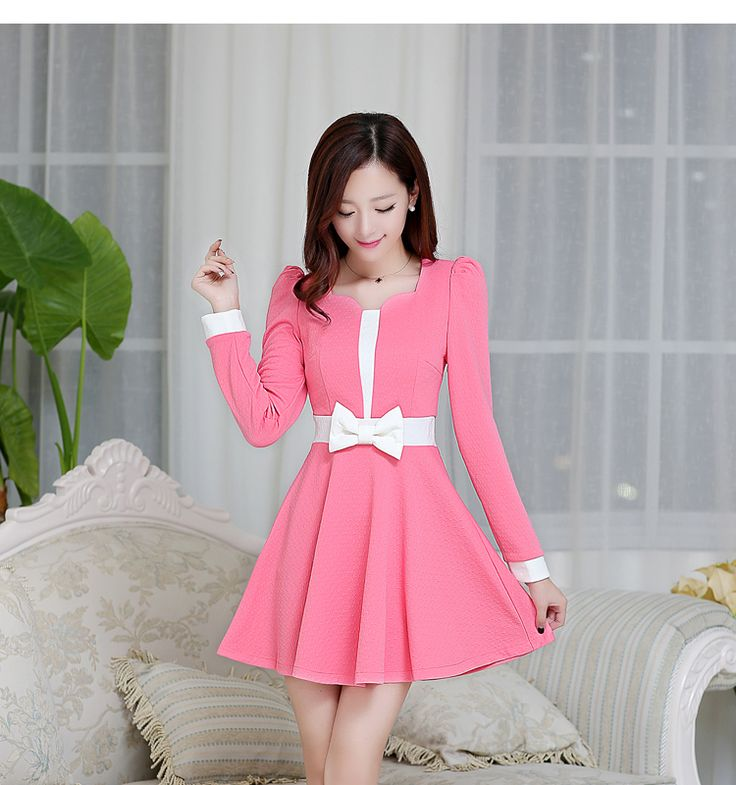 2014 new fall and winter clothes large size women chiffon dress sub bottoming Slim fake two-piece long-sleeved dress skirt - SGshop