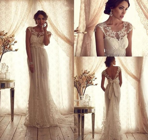 Vintage Backless Beautiful Wedding Dress Beads by LoveBirdsBakery