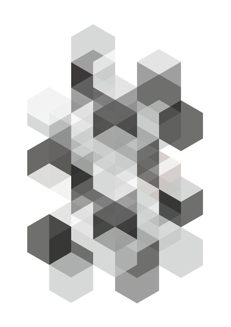 Art Print , A3, Poster, Hexagons - Black and White. €24.00, via Etsy.