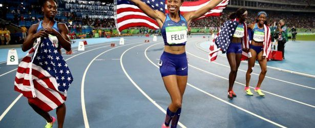 GOLDEN! US Clinches Women's 4x100m GOLD Medal in Rio! (L-R) Tianna Bartoletta, Allyson Felix, Tori Bowie, English Gardner. 8/19/16