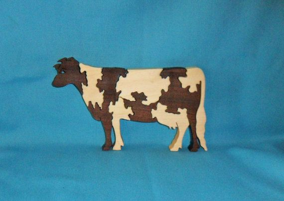 Holstein Cow Wooden Scroll Saw Puzzle