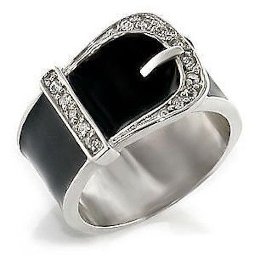 Silver Belt Buckle Ring Black Enamel Country Western Band Size 8 9 10 11 12 Usa