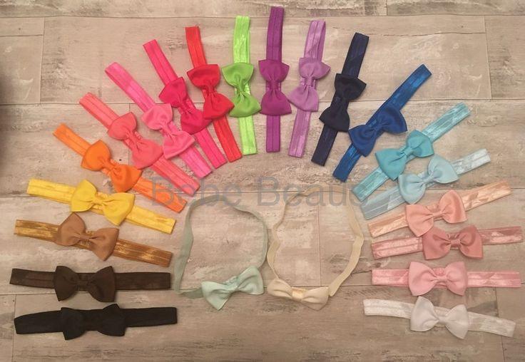 UK SELLER Baby Girl Bow Hairband Soft Elastic Headbands Pink White Cream Navy  | eBay