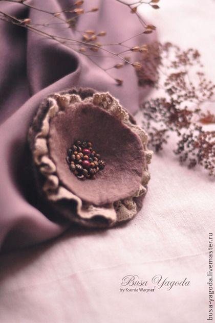 """Броши ручной работы. Ярмарка Мастеров - ручная работа. Купить """"Сухоцветы"""" брошь войлочная.. Handmade. Коричневый, кофейный, бохо украшения"""