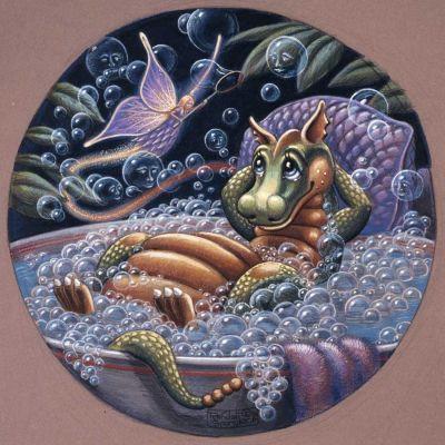 Bubble Dreams Mural - Randal Spangler  Murals Your Way Cute dragon in bath