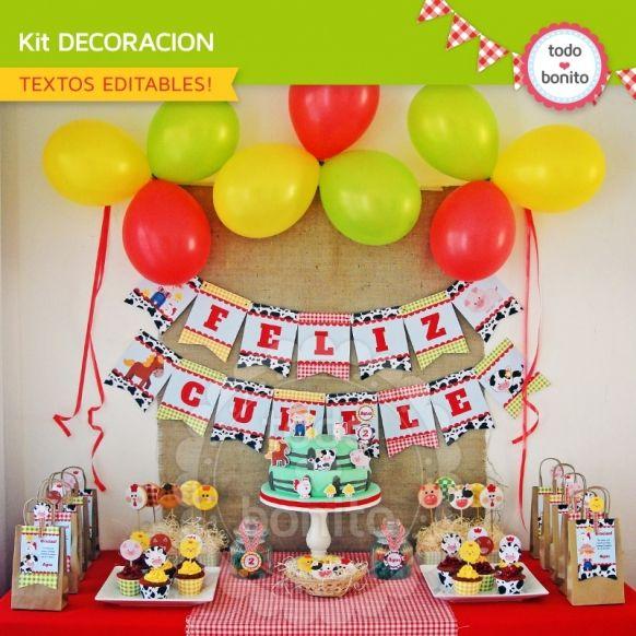 Granja niños: decoración de fiesta para imprimir - Todo Bonito