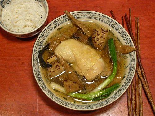 Vietnamese chicken and bamboo shoot noodle soup (bun mang ga)