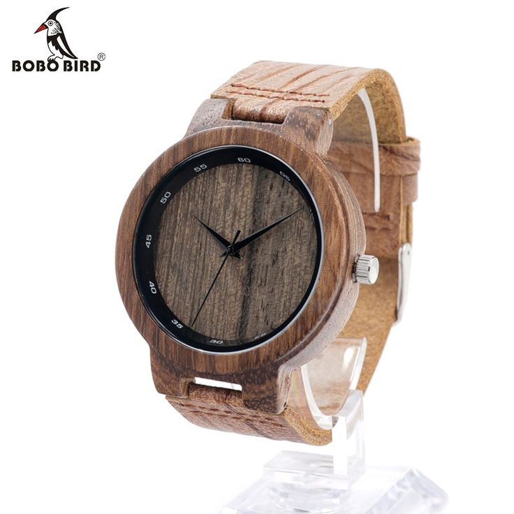 BOBO BIRD Simulation Wooden Relojes Quartz Men Watches Casual Leather Strap With Leather Strap Analog Watch With Gift Box