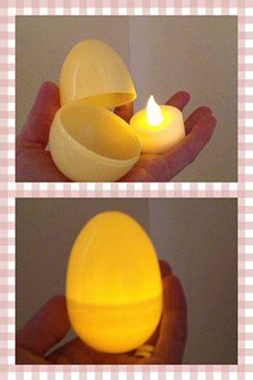 What a fun idea for Light Up Easter Eggs! Have a glow in the dark Easter Egg Hunt with battery operated candles and plastic eggs.