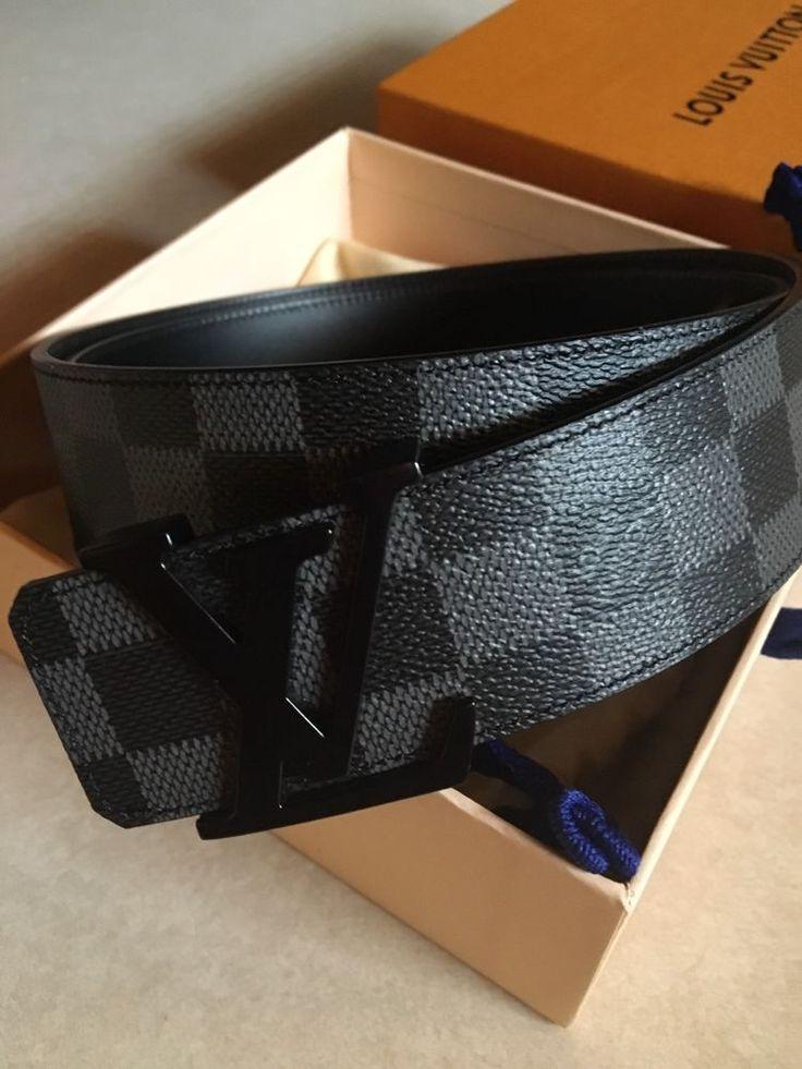 LOUIS VUITTON LV Damier Graphite Mens Belt Size 9538 Fits