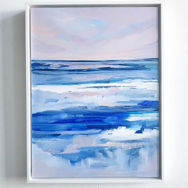 """Note: I tried to keep this painting for myself but my family called me out on it and now it's officially part of the """"Waves"""" series launching on 10/15!  Here's """"Lilac Sea"""", 18x24 framed in @framebridge's Gatwick floater frame in White.  And I love it. :he"""