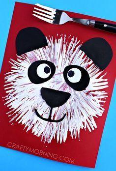 Fork Print Panda Bear Kids Craft - Crafty Morning