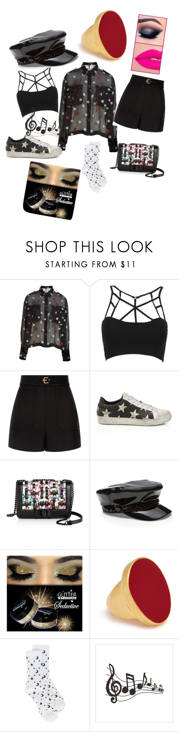 """karaoke last night"" by brittklein ❤ liked on Polyvore featuring rag & bone, WithChic, RED Valentino, Salvatore Ferragamo, Kenneth Jay Lane and Mother"