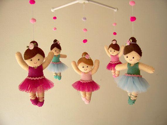 Baby crib mobile Ballerina mobile girls mobile felt by Feltnjoy, $95.00