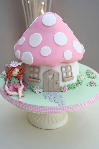 Fairy Toadstool Cake   If I could do this for her first....