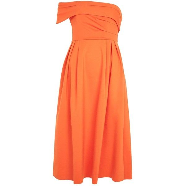 Topshop Bardot One Shoulder Prom Dress (1,630 PHP) ❤ liked on Polyvore featuring dresses, bright orang, prom dresses, cocktail prom dress, cocktail party dress, formal prom dresses and red party dresses