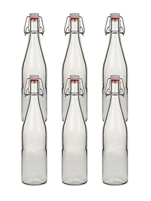 6er Set Bügelflaschen Bügelflasche Glasflaschen 500ml Typ A mit Bügelverschluss zum Selbstbefüllen Vitrea: Amazon.de: Küche & Haushalt