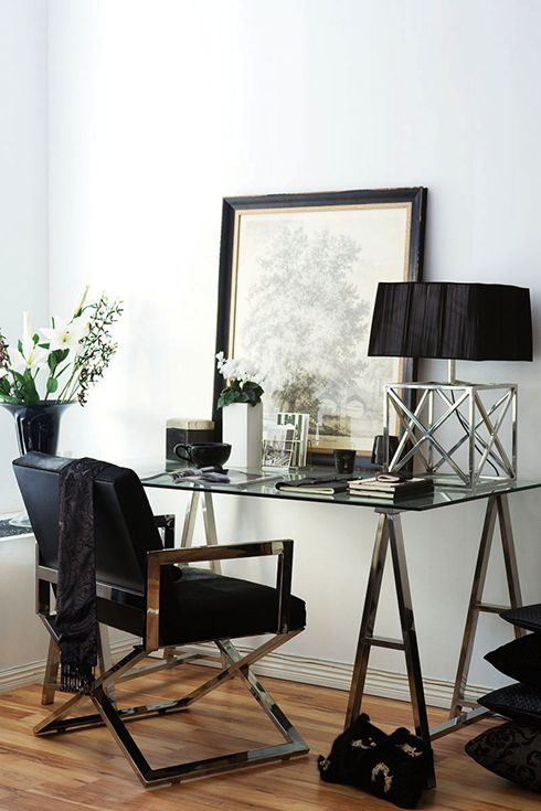 Chic Black & Silver Home Office Space.   Featured on MadeByGirl website.
