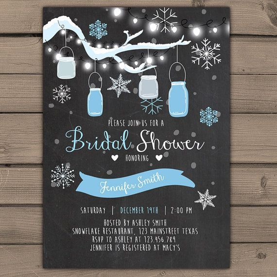 Winter Bridal Shower Invitation Winter invite jars Snowflakes Blue and Grey…