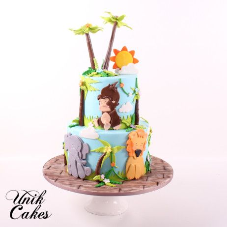 This cake was decorated with cute fondant gorilla, lion, elephant, and zebra. How cute are those fondant palm trees?  Happy 1st Birthday!