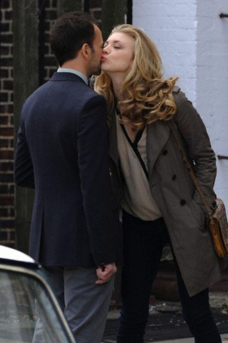 Jonny Lee Miller and Natalie Dormer (as Irene Adler) on set of Elementary, April 17, 2013.
