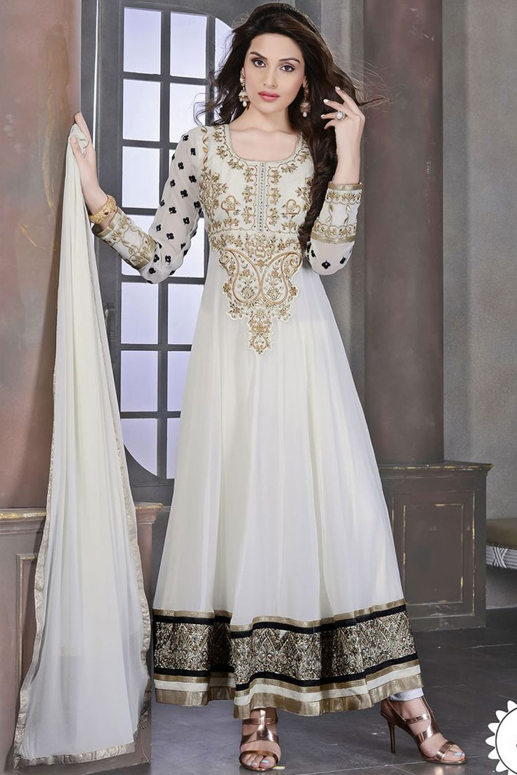 White Anarkali Churidar Suit and White Dupatta Price:NOW: £49.00 New arrival designer suits 2015 are now in store of Andaaz Fashion. These designs are embellished with hand work, crytal, zari, resham etc. All the dresses are prefect for Occasion, Party, Wedding, Evening Wear. Suits are available in United Kingdom, Birmingham.