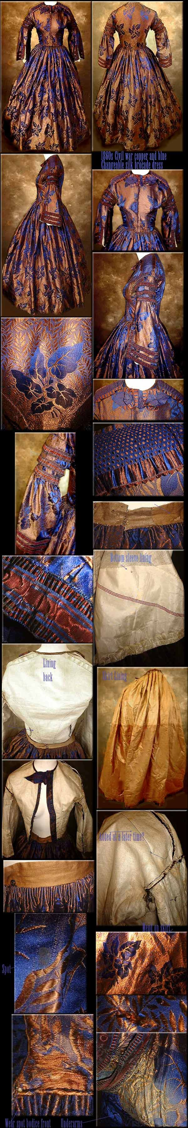 MAGNIFICENT Civil War 1860's Bronze Copper and Cobalt blue CHANGEABLE silk Brocade dress