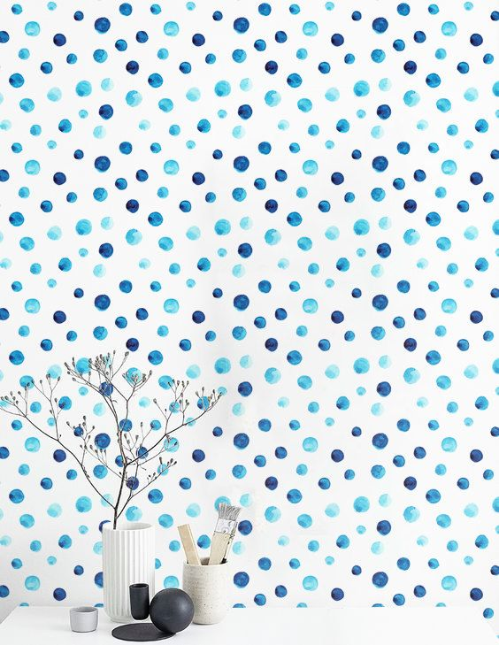 Watercolor Polka Dots Wallpaper, Self Adhesive Vinyl Wallpaper, Wall  Sticker, BW007