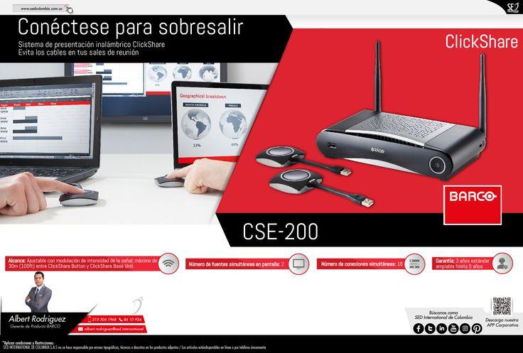 Conéctese para sobresalir con Clickshare de Barco: Contacta a tu gerente de producto para más información: Albert Rodriguez Celular: 310 304 1968 Email: albert.rodriguez@sed.international