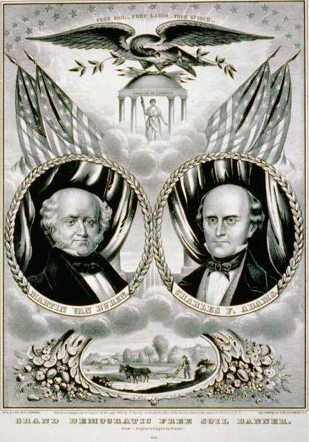 Grand Democratic Free Soil banner. (Martin Van Buren & Charles F. Adams).