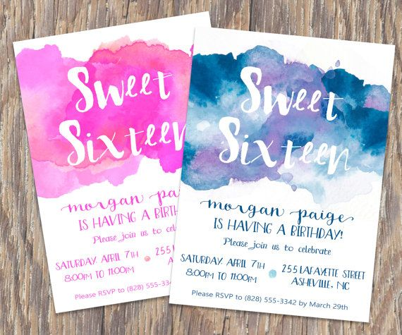 Birthday Invitation Watercolor Sweet 16 Custom by MLBandCo on Etsy