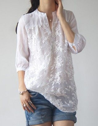 The new spring and summer 2015 five literary organza silk white shirt sleeve embroidery cotton and linen shirts big yard CS20347