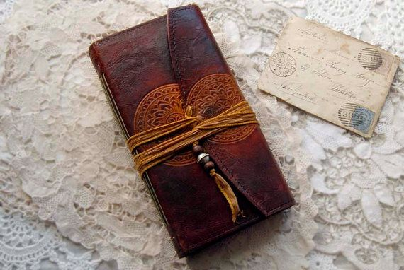 The Quest  Vintage Leather Journal Handbound Tea by bibliographica