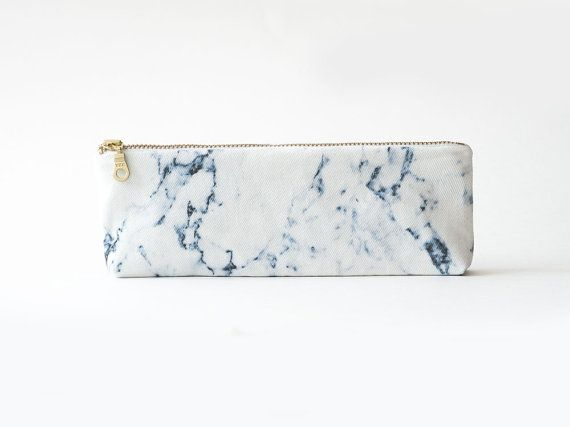 White marble organic coton pencil case, zipper pouch, white and grey, print organic fabric, marble pencil pouch, back to school