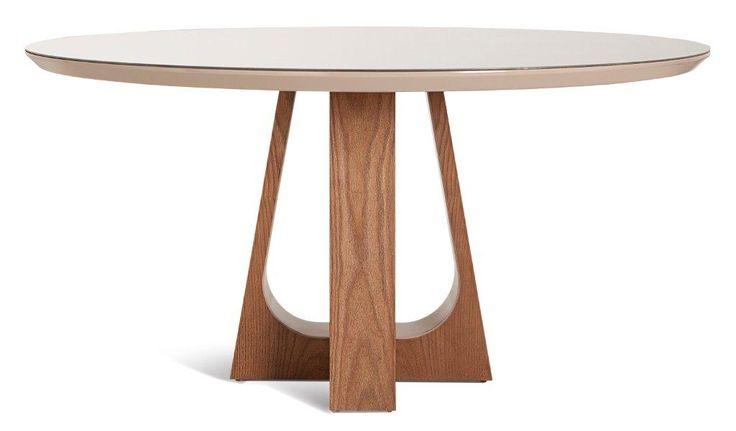 Mesa de jantar Bowl assinada pelo designer Paulo Sartori com base em carvalho e tampo em laca brilho com 140x76cm altura