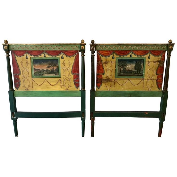 Pair 19th Century Italian Painted Twin Headboards | From a unique collection of antique and modern bedroom furniture at https://www.1stdibs.com/furniture/more-furniture-collectibles/bedroom-furniture/