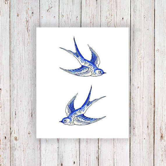Delft Blue swallow temporary tattoo / delft blue by Tattoorary