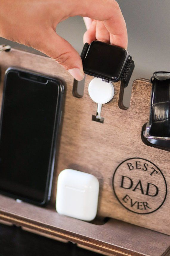 Engraved Desk Organizer for Devices From Daughter to Dad Wooden Docking Station