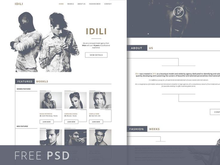 [FREEBIE] IDILI - Fashion/Modelling agency landing page by Robert Berki