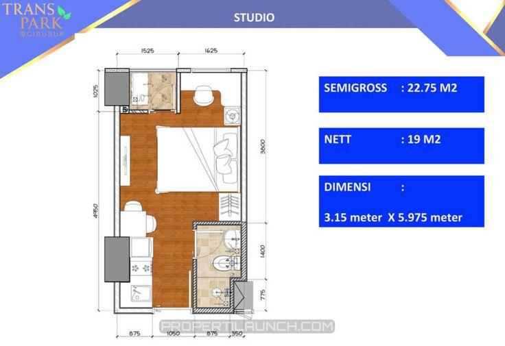 Denah tipe Studio apartemen Trans Park Cibubur