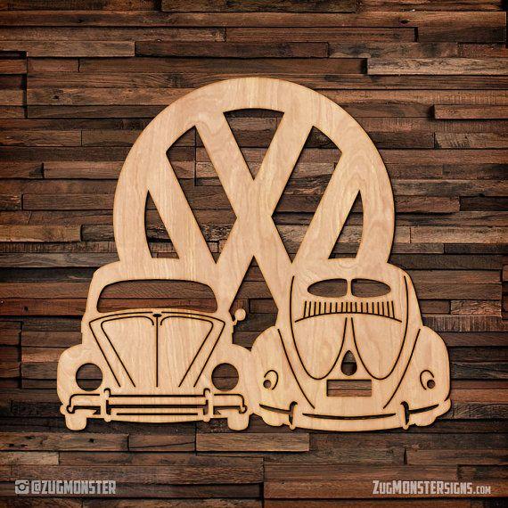 Vintage VW Bug split ventana madera colgar arte de la pared